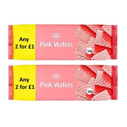 Pink Wafers Biscuits Happy Shopper 100g (2 Pack)